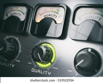 Quality control switch knob on maximum position. 3d illustration
