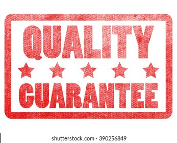 quality guarantee text sign label stamp.