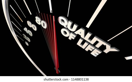 Quality of LIfe Enjoy Comfortable Lifestyle Speedometer Word 3d Illustration
