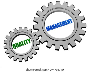 quality management  - text in 3d silver grey metal gear wheels, business CRM concept