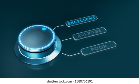 quality rating concept, the knob is on the top level (3d render)