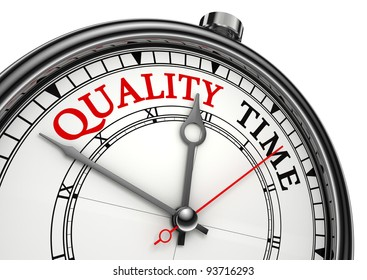 quality time concept clock closeup isolated on white background with red and black words