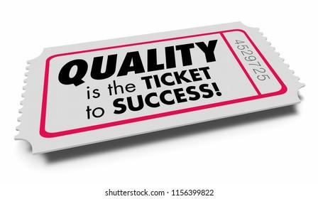 Quality Value Good Characteristics Ticket Success 3d Illustration