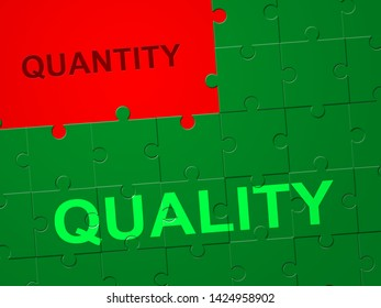 Quality Vs Quantity Jigsaw Depicting Balance Between Product Or Service Superiority Or Production. Value Versus Volume - 3d Illustration