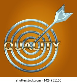 Quality Vs Quantity Target Depicting Balance Between Product Or Service Superiority Or Production. Value Versus Volume - 3d Illustration