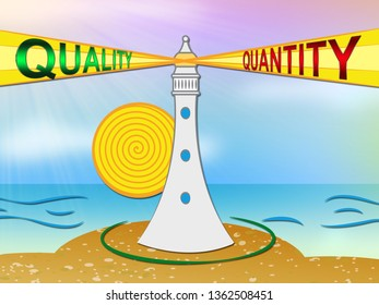 Quality Vs Quantity Words Depicting Balance Between Product Or Service Superiority Or Production. Value Versus Volume - 3d Illustration