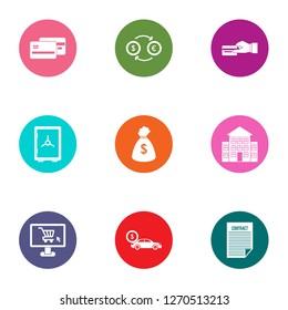 Quantity of money icons set. Flat set of 9 quantity of money icons for web isolated on white background