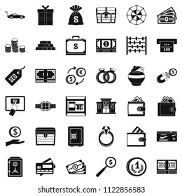 Quantity of money icons set. Simple set of 36 quantity of money icons for web isolated on white background