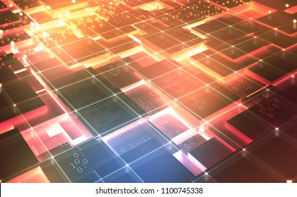 Quantum computer architecture. Cyberspace abstract concept. Blockchain network. Fintech technology. 3D illustration on a technological background with binary code elements