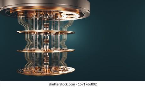 Quantum computer background 3d render