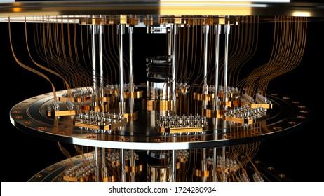 quantum computer black background closeup 3d render