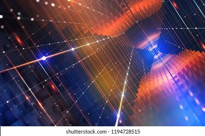 Quantum computer. Global network technology Blockchain. Digital world of  future. 3D illustration background
