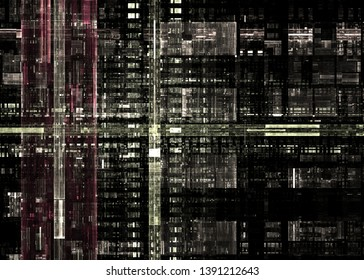 Quantum computing background, electronic circuits board design with fractal cells. 3d illustration