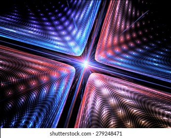 Quantum mechanics, particle with wave attribution, computer generated abstract fractal background