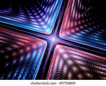 Quantum mechanics, particle with wave attribution, computer generated abstract fractal background, 3D render