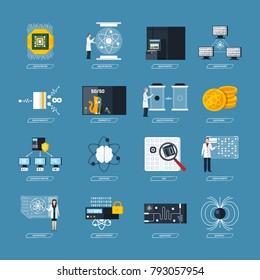 Quantum physics flat decorative icons set of processor logic qubit teleportation atomic structure cryptography symbols isolated  Illustration