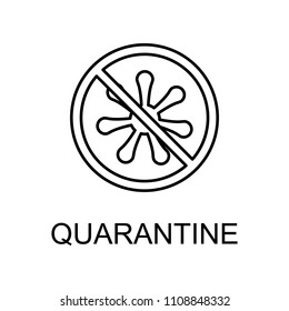 quarantine outline icon. Element of data protection icon with name for mobile concept and web apps. Thin line quarantine icon can be used for web and mobile on white background