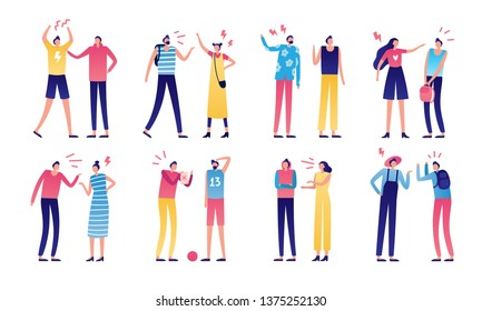 Quarreled couple. Couples of angry people, relationship disagreement problem and family quarrels. Conflict quarrel, person yelling aggression and fight. Arguing flat isolated  icons set