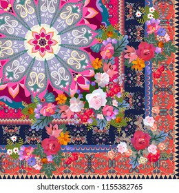 Quarter of luxury carpet or shawl with garden flowers, ornate ornamental border and mandala in ethnic style. Indian motives.