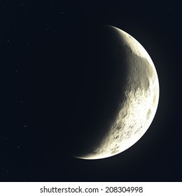 A quarter moon brightly lit against the night sky with golden light.  This is a digital illustration and is not meant to be an accurate depiction of Earth's moon.