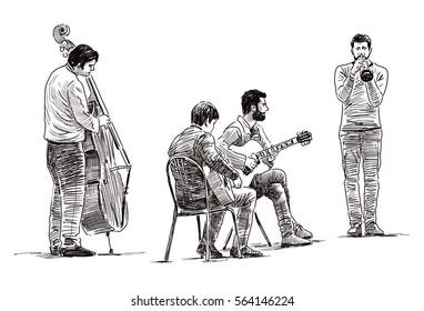Quartet of the street musicians