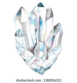 Quartz crystal healing, watercolor rock mineral, hand drawn illustration of gemstone isolated on white background