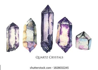 Quartz crystal watercolor set. Smoky quartz.