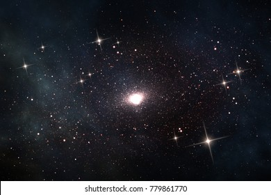 Quasar in deep space, astronomical scientific 3D illustration