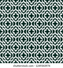 Quatrefoil ikat contour seamless line  pattern. Geometric repeating dark background.