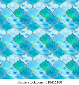 Quatrefoil. Seamless pattern with hand-drawn eastern tiles. Ornate border or pattern for invitations, birthday, greeting cards, wallpaper. Real watercolor illustration