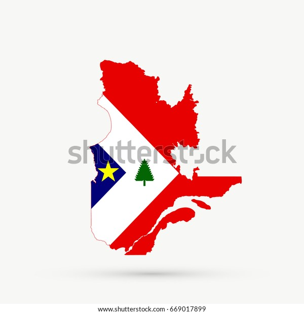 Map Of New England And Quebec.Quebec Map New England Acadians Flag Stock Illustration 669017899