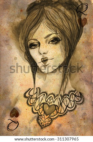 Queen Of Hearts Template Playing Card Vintage Watercolor Illustration