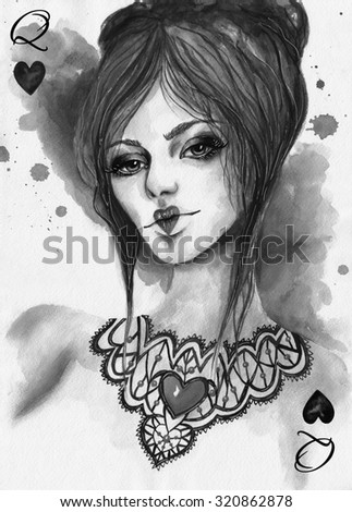 Queen Of Hearts Template Playing Card Watercolor Black And White Illustration