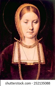 Queen Katherine of Aragon (1485-1536), first wife of King Henry VIII (1491-1547). Painting by Michael Sittow.