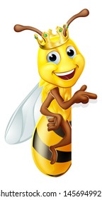 A queen or king bumble bee cartoon character in a gold crown peeking around a sign and pointing
