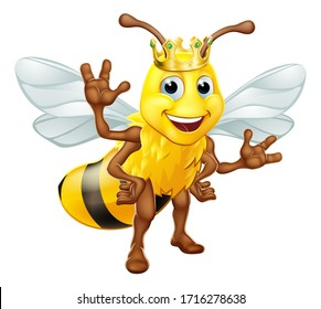 A queen or king bumble bee cartoon character in a gold crown standing and waving