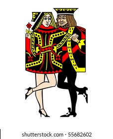 A Queen and King of Cards Dancing Tango
