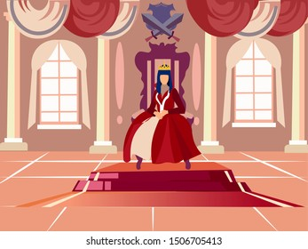 Queen is sitting on her throne. In minimalist style. Cartoon flat raster illustration