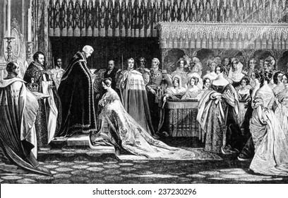 Queen Victoria ( 1819- 1901) ruled Great Britain 1837- 1901, Victoria (center, kneeling) receiving the sacrament at her coronation, image: 1837.