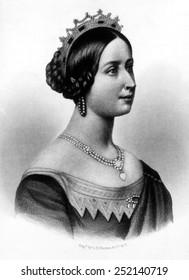 Queen Victoria (1819-1901), Queen of Great Britain and Ireland 1837-1901, Empress of India 1876-1901. Engraving 1836.