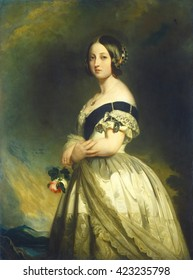 Queen Victoria, Franz Xaver Winterhalter studio, 1843, German/English painting, oil on canvas. Victoria had been Queen for only five years when this portrait was painted