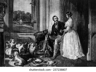 Queen Victoria (right) and Prince Albert (left), Queen Victoria ( 1819- 1901) ruled Great Britain 1837- 190 1, Prince Albert ( 18 19- 186 1), with child and dogs, 1843.