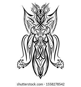 Queen of Wasp.Symmetrical design for Pattern and Tattoo