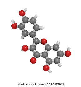 Quercetin flavonoid molecule, chemical structure. Quercetin is a flavonoid compound found in many plants. Research suggests that quercetin can be used in antiviral therapy and inflammation treatment.