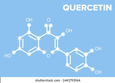 QUERCETIN molecule logo on blue background