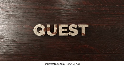 Quest - grungy wooden headline on Maple  - 3D rendered royalty free stock image. This image can be used for an online website banner ad or a print postcard.