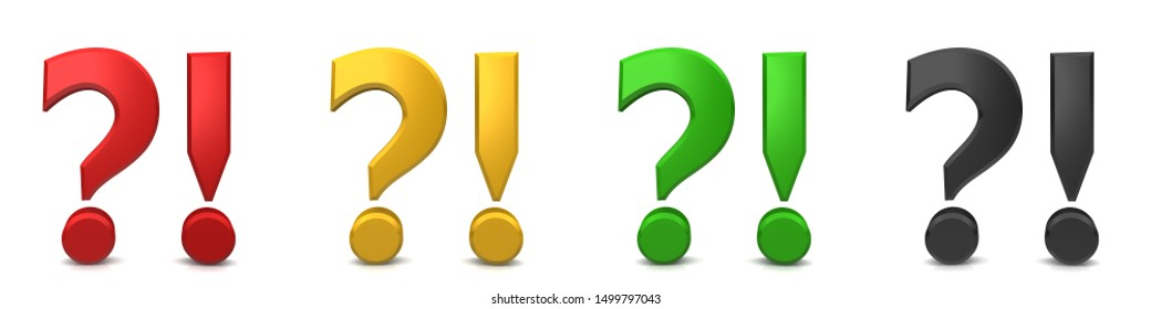 question and answer q and a asking answering question mark exclamation point interrogation point exclamation mark 3d rendering illustration icon set multi colored red golden yellow green black signs
