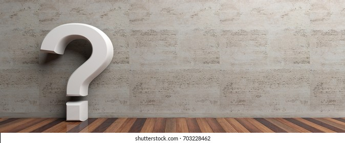 Question concept. Questionmark on wooden floor and marble wall background. Interior design, space for text. 3d illustration