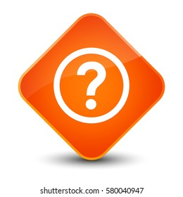 Question icon isolated on special orange diamond button abstract illustration