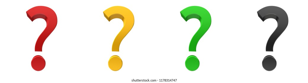 question mark 3d interrogation point punctuation marks red yellow green black isolated on white